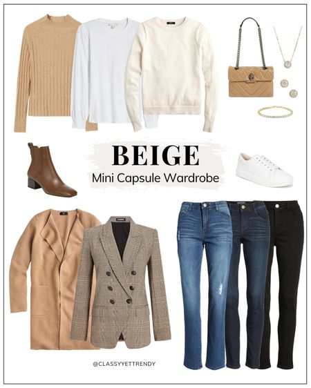 Beige Mini Capsule Wardrobe ✔️ I've had a few requests to create a capsule using beige as the accent color.  See the Gray Mini Capsule a few posts back.  Swipe right to see how this capsule makes 18 outfits!  Go to the blog for all the details, including how to dress up this capsule for work and how to expand this capsule.  Follow my shop @classyyettrendy on the @shop.LTK app to shop this post and get my exclusive app-only content!  #capsulewardrobe#smartcasual#whatiamwearing#effortlessstyle#effortlesschic#dailyoutfit#outfitstyle#mystyle#minimaliststyle#elegantstyle#mystylediary#outfitinspirations#dailyfashion#realoutfitgram#wiwtoday#howtostyle#howtowear#parisianstyle#parisiennestyle#parisianchic#simplestyle#simplelook#neutralstyle#neutralaboutit#classicoutfit#classicstyle #everydayfashion #teamlessismore #buylesschoosewell  #LTKunder50 #LTKstyletip #LTKunder100