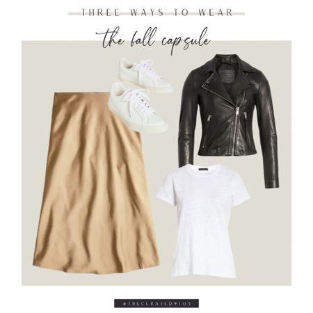 Midi skirt, leather jacket, white tee, sneakers  #LTKstyletip #LTKbacktoschool #LTKSeasonal