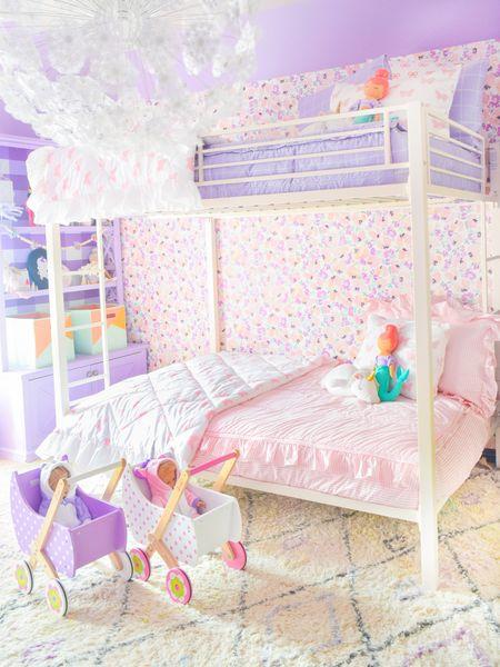 New bunk beds in the girls room 🛌💖💜 . . Home decor, room decor, bedroom decor, kid room, playroom, girls room, toddler room, girl decor, pink decor, purple decor, bedding, wallpaper, light fixture, chandelier, pillow, blanket, rug, bookshelf, diy decor   #LTKhome #LTKfamily #LTKkids
