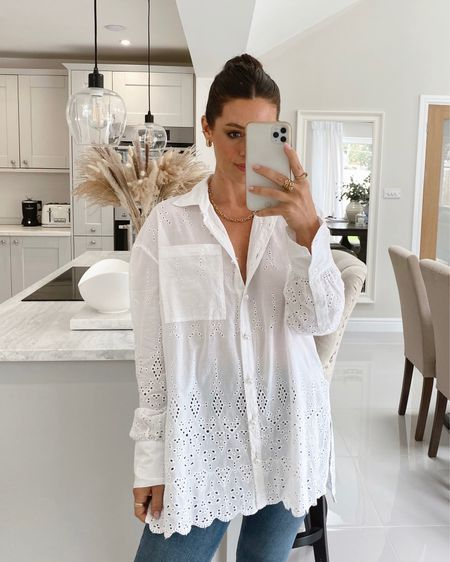 Beautiful white broderie anglaise shirt that can also transition into your autumn/fall wardrobe