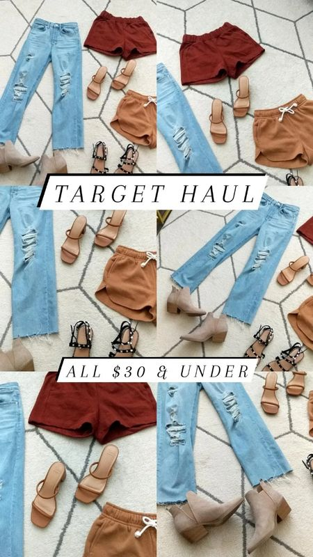 My recent Target haul and Target finds - All items $30 & under! 😱 High waist distressed mom jeans, fleece lined shorts, lounge wear, strappy square toe heels, black stud sandals and taupe booties. Red shorts and black stud sandals fit slightly oversized. All others fit TTS.   #LTKSeasonal #LTKshoecrush #LTKunder50