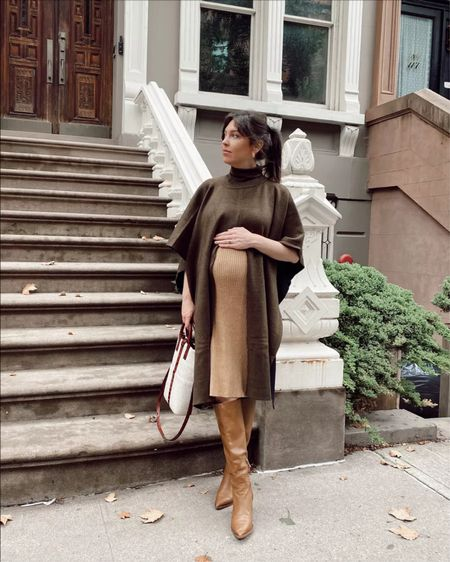 Fall Maternity: ribbed knit midi dress with poncho and boots (exact boots are Sam Edelman from last year)     #LTKstyletip #LTKSeasonal #LTKbump