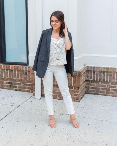 Summer + Spring outfit idea // floral tank, white jeans, knit blazer, strap heels http://liketk.it/3hTrH #liketkit @liketoknow.it #LTKstyletip