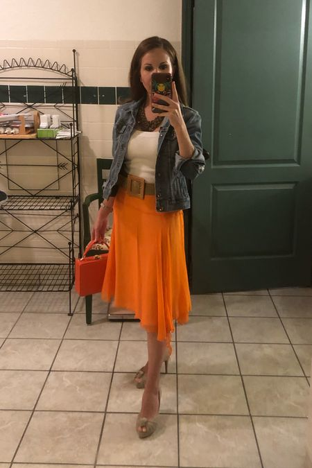 It's finally Jean jacket weather!   #denim #jeanjacket #abercrombie #abercrombieandfitch #orange #christianlouboutinheels #christianlouboutin  #LTKshoecrush #LTKsalealert #LTKstyletip
