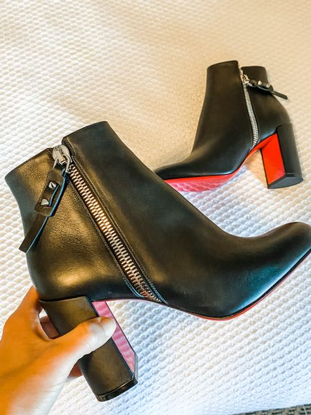 Classic Christian Louboutin Booties with a block heel makes them easy to walk in   #LTKSeasonal #LTKshoecrush #LTKGiftGuide