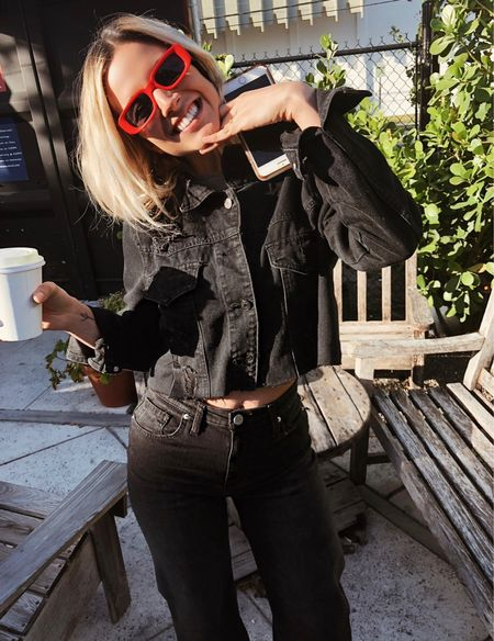 Black denim suit look. Pop of red. Yes plz. ❤️   #LTKstyletip #LTKworkwear #LTKFall