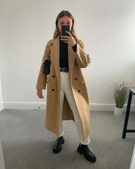10 Pinterest inspired AW outfits 👉🏼  I'm always on the look out for outfit inspiration and @pinterestuk is one of my go-to places to search for outfit ideas.  Here are 10 outfits I've recreated using clothes I already own in my wardrobe.  5. Camel coat, white jeans, chunky boots   #LTKeurope #LTKunder50 #LTKstyletip