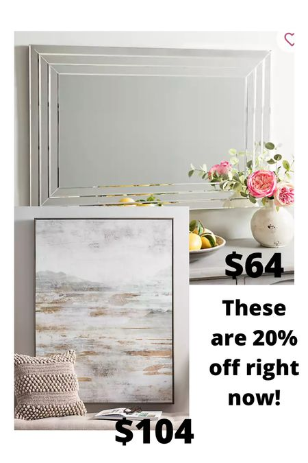 Large silver mirror and this gray brown painting are both 20% off right now!!   #LTKhome #LTKunder100 #LTKsalealert