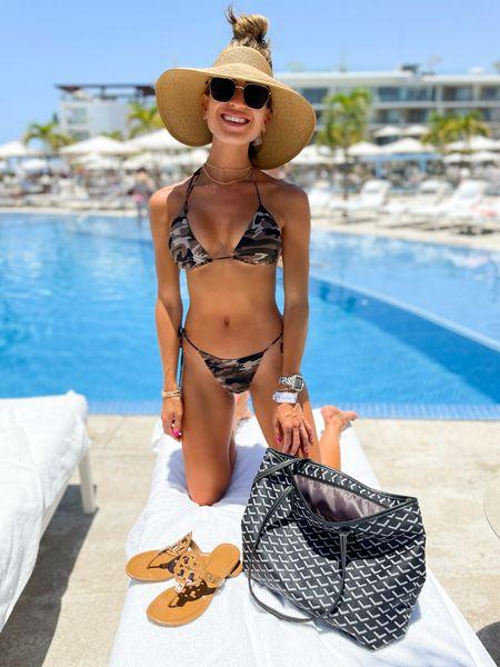 Camo bikini size Xs bottoms size m top. Amazon visor tote bag use code Alexisb40   #LTKunder50 #LTKswim #LTKunder100