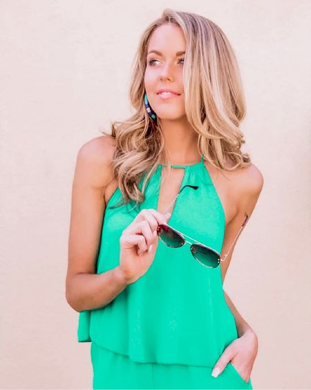 Y'all, I'm loving all of the bright green colors in this spring's wardrobe 💚😍💚 This jumpsuit is one of my favorite items I've found so far (& UNDER $50) and I can't wait to break it out as soon as we get 75 and sunny in the forecast ☀️ You can shop this look directly here ➡️ http://liketk.it/2AcJ0 #liketkit @liketoknow.it