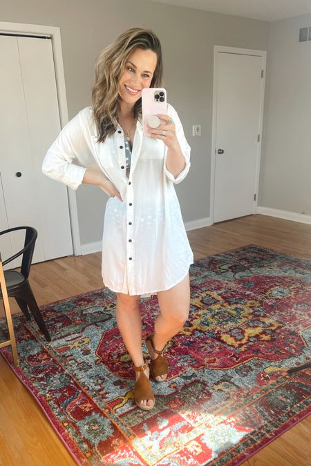 All the amazon finds! This white swimsuit cover up is so cute! Also linked my wedges and high waisted swimsuit, both are amazon fashion finds #liketkit http://liketk.it/3dxla @liketoknow.it #LTKunder50 #LTKshoecrush #LTKswim
