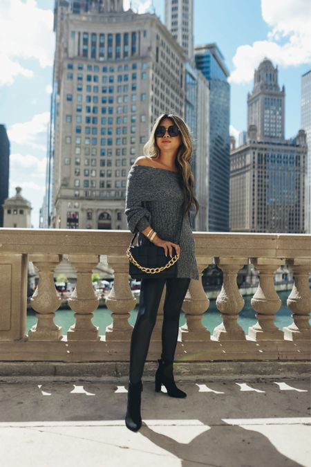 Off shoulder sweater, off the shoulder sweater, cozy sweater, vegan faux leather leggings, leather leggings outfit, black booties, black woven crossbody bag, fall style, fall outfit ideas, Walmart style, Walmart fashion   @walmart @walmartfashion #ad #walmartfashion  #LTKstyletip #LTKunder100 #LTKSeasonal