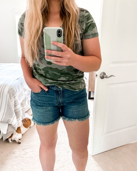 The best high waisted shorts and camo t-shirt! http://liketk.it/2Sk6M #liketkit @liketoknow.it #LTKsalealert #LTKstyletip #LTKunder50