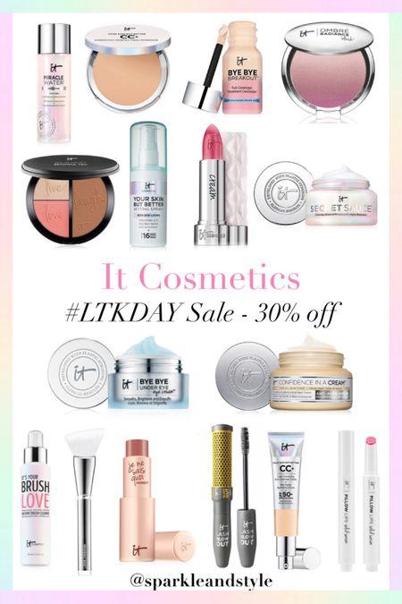 LTK Day Sale: IT Cosmetics - 30% off   http://liketk.it/3hyYa @liketoknow.it #liketkit #LTKDay #LTKbeauty #LTKsalealert   Makeup, lipsticks, foundation, lipgloss, lip balm, cc cream, blush, bronzer, highlighter, skincare, moisturizer, setting spray, makeup brush cleaner, makeup remover, mascara, makeup brush, foundation brush, concealer, powder foundation, eye cream