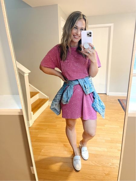 This T-shirt dress is perfect for those hot summer days! Paired it with a jean jacket, white mules and the cutest new rainbow earrings. These mules and earrings are both amazon finds   #LTKshoecrush #LTKunder50 #LTKstyletip