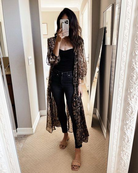 Wearing a size small kimono, I suggest sizing up for the bodysuit., express style, casual, leopard print, StylinByAylin   #LTKunder100 #LTKSeasonal #LTKstyletip