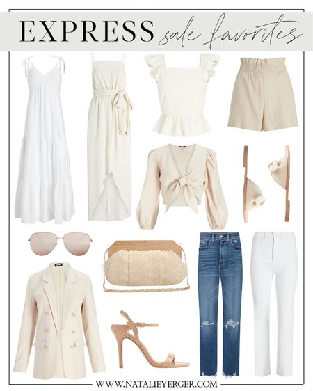My LTK Day Express sale roundup! There are a lot of really pretty summer dresses, tops, and shorts they're releasing lately. These can be mixed and matched for the office, date night, and the weekend. The linen ruffled top is my favorite!  ltkday, ltk day, ltk day sale, ltkday express, ltk day express, ltkday picks, ltkday outfits, white dress, bridal dress, tie front top, summer bag, woven crossbody, aviator sunglasses, linen blazer, white jeans, beige shorts, nude heels, bow sandals   #LTKunder100 #LTKsalealert #LTKunder50