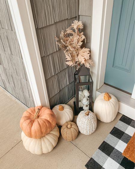 Fall outdoor decor. Fall decor. Doormat. Buffalo plaid doormat. Porch mat. Front porch decor. Faux pumpkins. White pumpkins. Bohemian decor. Bohemian farmhouse. Autumn decor.   #LTKhome #LTKSeasonal