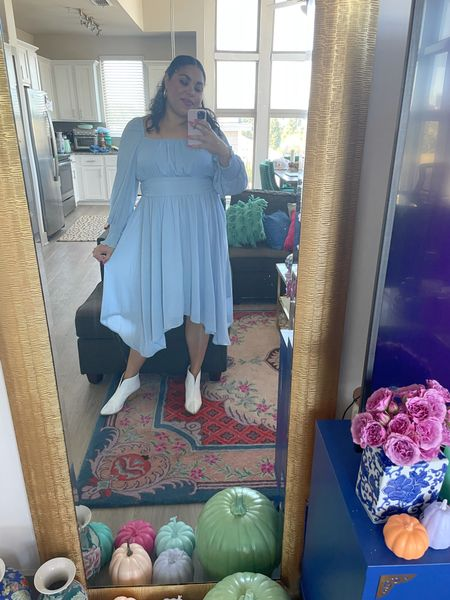 THIS DRESS IS GIVING FLEUR DELACOUR, WENDY FROM PETER PAN AND CINDERELLA VIBES😍 #bluedress #falldress #mididress #fallstyle