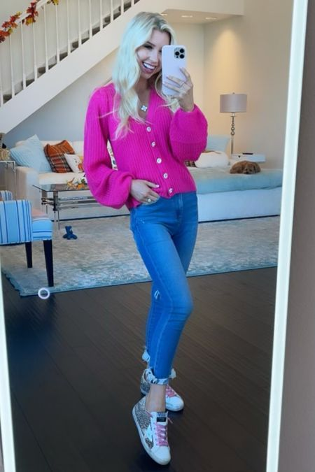 Today's outfit of the day for this cooler Dallas weather! My beautiful, pink, sweater is from Lilly Pulitzer. I paired it with my favorite Abercrombie skinny jeans and my golden goose sneakers! #abercrombie #lillypulitzer #goldengoose #sweater #skinnyjeans  #LTKunder100 #LTKHoliday #LTKstyletip