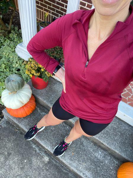Pardon the sweat but I love this top for fall running   #LTKunder100 #LTKshoecrush #LTKfit