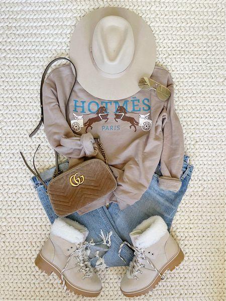 H O M E \ Fall mom outfit🍂  #fall #falloutfit #fallfashion #booties #jeans #walmart #walmartfind  #LTKunder50 #LTKstyletip #LTKSeasonal