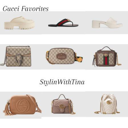 Gucci Favorites, I've been loving.  Gucci purse, handbags, crossbody bag, Gucci sandals, slides, mules. #designerbag  #LTKsalealert #LTKstyletip #LTKunder100
