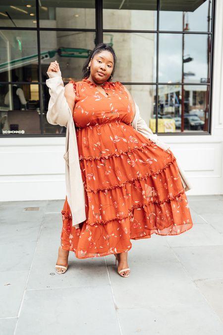 Plus size fall outfit | fall dress, bohemian print ruffle dress, plus size dress, plus size fall dress, beige cardigan, Walmart dress, Walmart finds  #LTKunder50 #LTKcurves #LTKSeasonal
