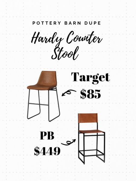 A great affordable option for a similar look to Pottery Barns Hardy Leather Barstool! Add some leather accents to any space for some texture! #kitchenfurniture #barstools #potterybarndupe #kitchenlooks  #LTKstyletip #LTKunder100 #LTKhome
