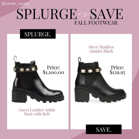 Check out this fantastic Steve Madden dupe! Perfect shoe to buy if you're looking to save some $$$ | #stevemadden #gucci #gucciboots #ankleboots #fallfootwear #fallboots #workshoewear #popularfootwear #bestseller #splurgevssave #JaimieTucker  #LTKshoecrush #LTKstyletip