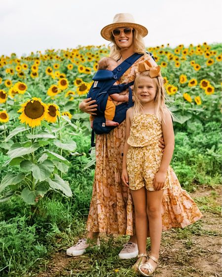 Sunflower field adventures early fall transition dress matching family outfits floral maxi dress from petal and pup   #LTKSeasonal #LTKfamily #LTKkids