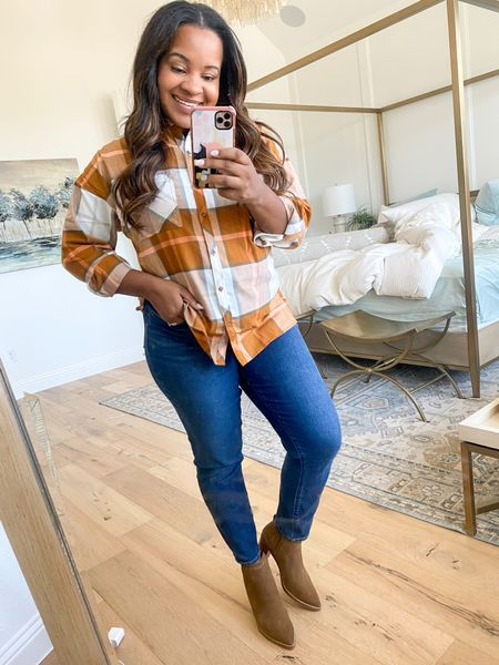 Love a good plaid flannel 🙌🏾 LOFT has 50% off + free shipping! Use code: CYBER *the top I'm wearing is out of stock but linked others*  #LTKSeasonal #LTKunder50 #LTKsalealert