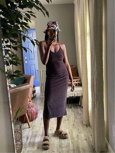Great summer vacation dress! Black terry cloth cutouts dress and fuzzy sandals from Koolaburra.   #LTKunder100 #LTKstyletip #LTKtravel
