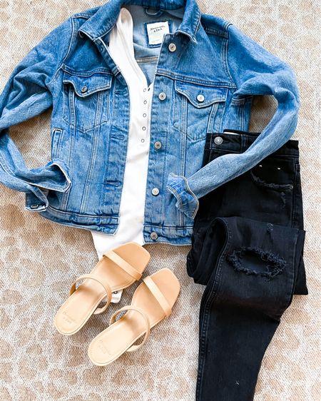 Outfit on sale denim jacket size Xs, black jeans size 24 http://liketk.it/3hs0c #liketkit @liketoknow.it #LTKunder100 #LTKunder50 #LTKsalealert