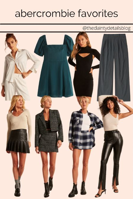 Abercrombie fall finds!  Fall outfits, fall transition, leather pants, leather skirt, fall dress, matching set, tailored trousers   #LTKSeasonal #LTKbacktoschool #LTKunder100