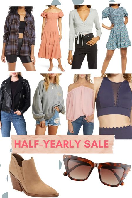 My pics for the Half-Yearly Sale // women's clothing // workout outfit // summer dresses // leather jacket // neutral booties // cat eye sunglasses // plaid shirt jacket   #LTKsalealert #LTKunder100 #LTKunder50