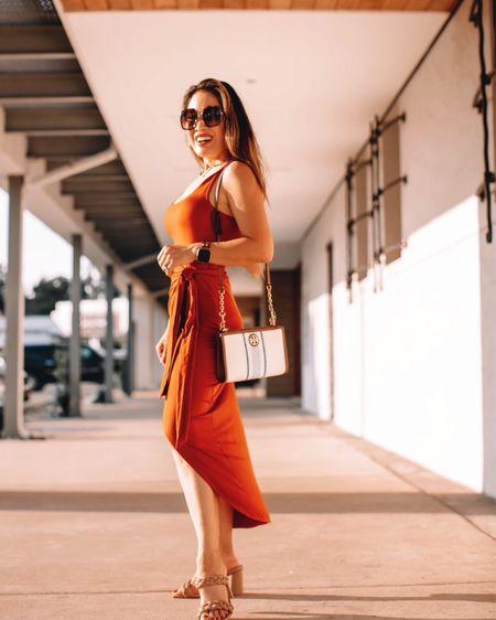 Nordstrom Anniversary Sale handbag  Tory Burch crossbody  Amazon fashion wrap skirt dress - s / TTS  Dolce Vita Braided heels - 6 / size up  Summer travel vacation outfit    #LTKunder50 #LTKsalealert #LTKitbag