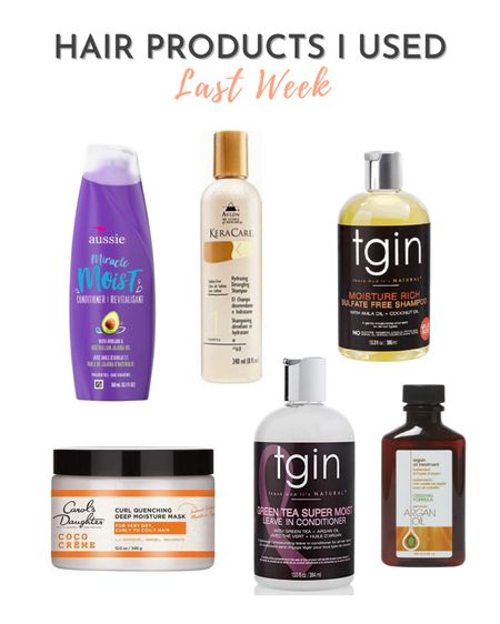 The products I've been using on my relaxed hair regularly are from brands like TGIN, Carol's Daughter, Aussie, Keracare, and One n Only  #LTKbeauty