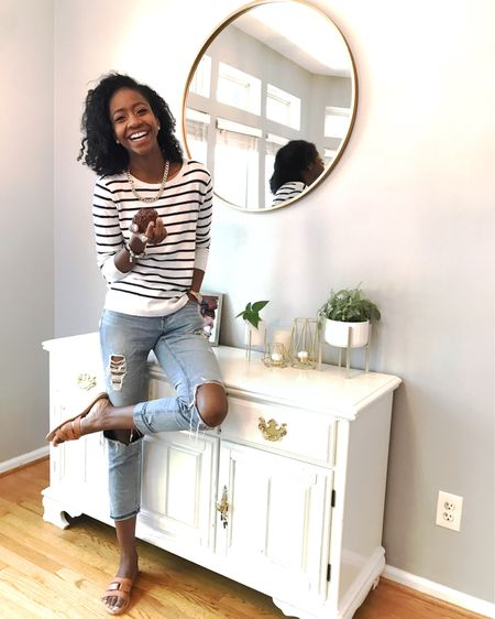Morning routine joy in my denim! The rain has brought some cold winds, so this striped top and distressed mom jeans are perfect!  Be sure to check out my home decor! http://liketk.it/2MxAV #liketkit @liketoknow.it #LTKspring #LTKshoecrush #LTKhome @liketoknow.it.home