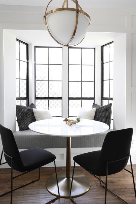 The most stylish breakfast nook... also not a bad alternative for a work at home desk ! #liketkit @liketoknow.it #StayHomeWithLTK #LTKhome #LTKspring @liketoknow.it.home @liketoknow.it.family #homesweethome #homedecor #kitchen #modernhome #stayhome #blackandwhite #dining #livingroom #diningroom #wfh http://liketk.it/2N2xN