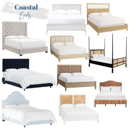 Coastal beds, wood beds, upholstered beds, blue beds, white beds, cane beds, driftwood beds, Pottery Barn beds, Serena and Lily beds    #LTKsalealert #LTKhome #LTKunder100