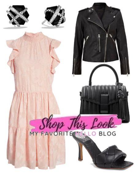 Edgy date night outfit. http://liketk.it/3hPbX #liketkit @liketoknow.it blush dress with black shoes and leather jacket. #edgyoutfit #datenightoutfit  #LTKstyletip #LTKunder100 #LTKshoecrush