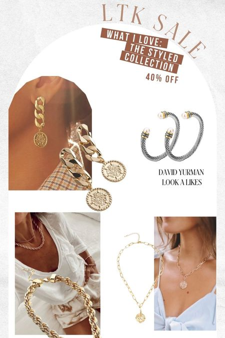 Dainty gold jewelry on sale at The styled collection! Also great david yurman dupes!   #LTKunder50 #LTKsalealert