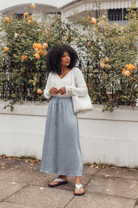 White cardigan and blue satin midi skirt with white sandals - makes for a great transitional outfit into Autumn.   #LTKSeasonal #LTKstyletip #LTKeurope