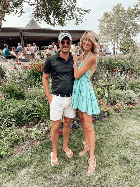 """It's a golf tournament weekend for David! Which means I get to drink rum in a golf cart, and wear a cute dress 👏🏻👏🏻  …until you're at the event, and you're online to grab the link your """"dress"""" and find out that half the websites are labeling it as a """"tunic"""" 😂😳🤷🏼♀️ YOLO!   Anyway! Let's send David some good luck Instagram vibes and some spirit fingers for the rest of his tournament! 🏌🏼♂️⛳️    #LTKstyletip #LTKshoecrush"""