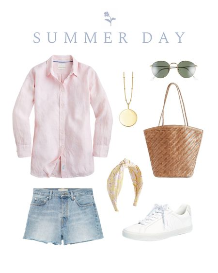 Pink button down outfit, denim shorts http://liketk.it/3jbp1 #liketkit @liketoknow.it