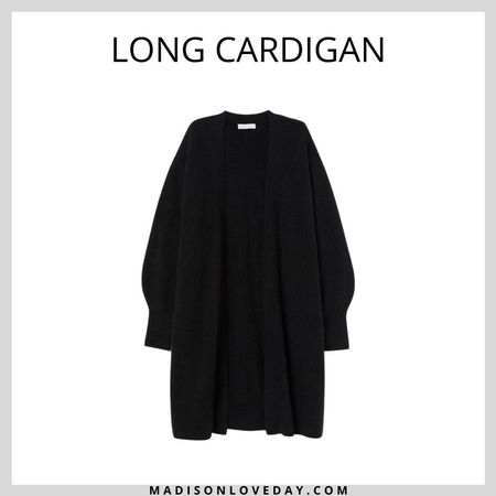 Long Cardigan  Long, fine-knit cardigan in soft fabric with wool content. Dropped shoulders, long sleeves, and no buttons. Ribbing at cuffs, back of neck, and hem.   hm, fall outfits  #LTKseasonal