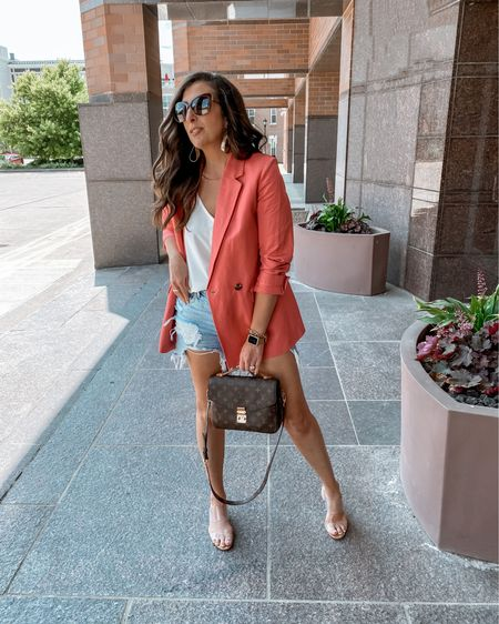 👜 Blazers & Cuttoffs. Easy & Chic. Summer Uniform Elevated!    A blazer paired with denim cutoffs has to be one of my favorite fashion trends...who's with me here?!?!  Be sure to snag a linen-blend material for the blazer of choice...much more breathable on those steamy days! Mine is currently on sale for under $50 (regularly $170). And stop in to @anntaylor_cincinnati , mention StephStyle101 for additional savings, even on sale items! 👠  * * Want to share your fave Affordable Fashion Finds and get a good B00ST? Follow the host below and send a DM to add you: @mommylexiloves   * * #Aff0rdAb13fashi1onF1ndSw3eKTw3ntyon3  * * * * *  You can shop the rest of my looks one of these easy ways!  1️⃣ Click the link in my Profile 2️⃣ DM me for any links 💕 3️⃣ Screenshot a look for the @liketoknow.it app 4️⃣ Follow me @stephstyle101 on the FREE @liketoknow.it app to get all the shopping details of this outfit and all my other outfits.  http://liketk.it/3jetw #liketkit #LTKshoecrush #LTKsalealert #LTKstyletip    . . . . . #anntaylor #thisisann #cincystyle #cincinnatimom #cincymom #momminthurs #cincinnatiinfluencer #cincinnatiblogger #summeroutfit #summerstyles #summerfashion #summerlook #summervibes #summerstyle #summerdays #summerdays☀️ #summeroutfits #outfitoftheday #blazer #cutoffs #elevatedfashion #elevatedlook #lookgoodfeelgood