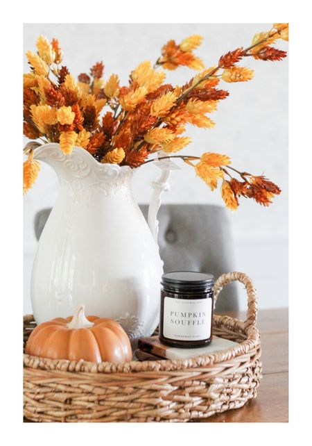 Fall stems, pumpkins and a cozy smelling candle  make up this simple tray decor!   #LTKSeasonal #LTKstyletip #LTKhome