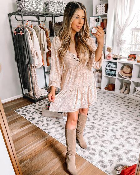 Fall dress outfit from Francescas Knee boots, flowy fall dress   #LTKunder100 #LTKSeasonal #LTKbacktoschool